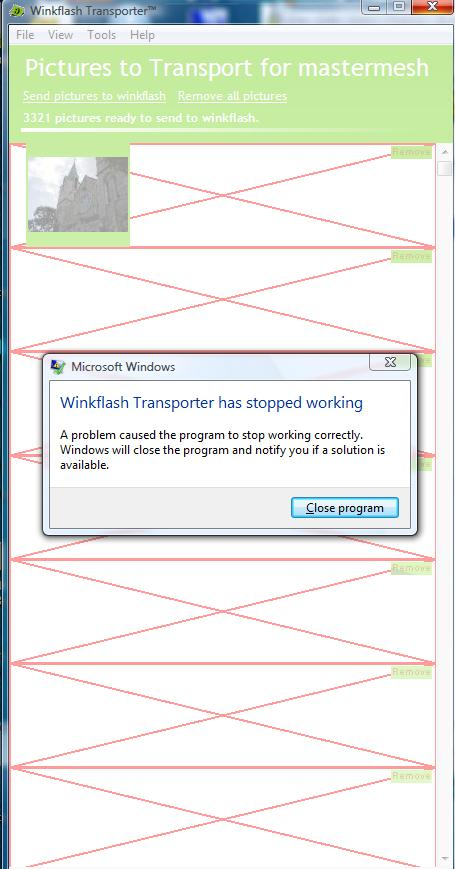 Error message when Winkflash stops working.